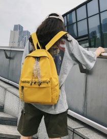 Fashion Yellow Letter Ribbon Backpack