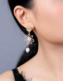 Fashion Gold Flower Geometric Face Coin Pearl Earrings