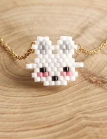Fashion White Rice Beads Woven White Rabbit Necklace