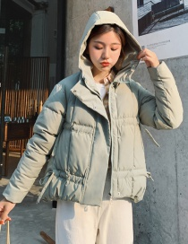 Fashion Pea Green Drawstring Hooded Padded Down Cotton Padded Jacket