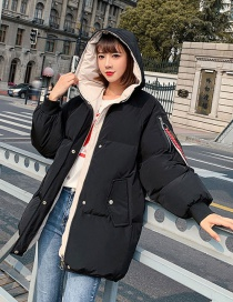 Fashion Black Letter Embroidery Thick Hooded Bread Dress