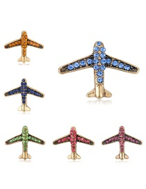 Fashion Gold Alloy-studded Aircraft Brooch 6 Packs