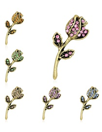 Fashion Gold Alloy Diamond Tulip Brooch 6 Packs