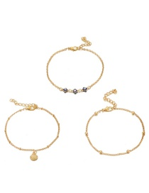 Fashion Gold Alloy Chain Eye Shell Anklet 3 Set