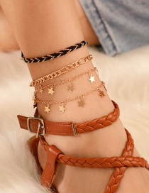 Fashion Gold Braided Wire Rope Alloy Chain Star Anklet 4 Set
