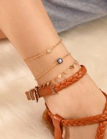 Fashion Gold Alloy Geometric Triangle Diamond Eye Anklet 3 Set