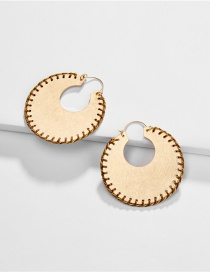 Fashion Brown Round Wrapped Gold Silk Earrings