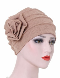 Fashion Khaki Monochrome Side Flower Baotou Cap