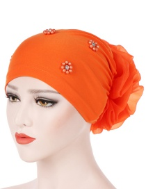 Fashion Orange Oversized With Flower Head Beaded Bonnet Cap
