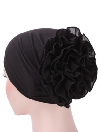 Fashion Black Chiffon Disk Flower Cap