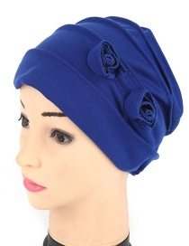 Fashion Royal Blue Cotton Folding Double Flower Baotou Cap