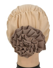 Fashion Khaki Two-color Flower Hooded Hat