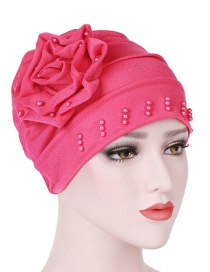 Fashion Watermelon Red Side Decal Flower Head Cap