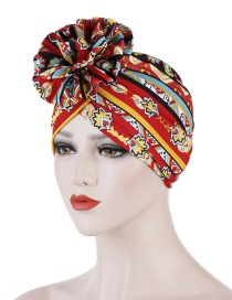 Fashion Red Flower Turban Cap