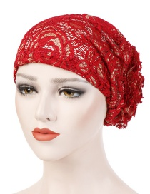 Fashion Red Lace Disk Flower Headgear