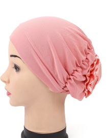 Fashion Pink After Wearing A Flower Cloth Scarf Cap