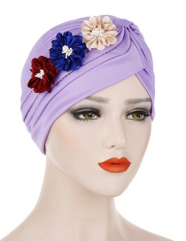 Fashion Light Purple Three Small Flower Pleated Headscarf Caps