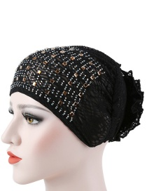 Fashion Black Flowered Bonnet With Hot Diamond