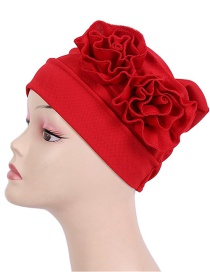 Fashion Red Corn Grain Double Flower Pleated Turban Cap