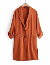 Fashion Caramel Colour Suit Collar Trench Coat