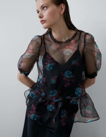 Fashion Color Printed Transparent Top (two-piece Suit)