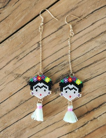 Fashion White Woven Rice Beads Earrings