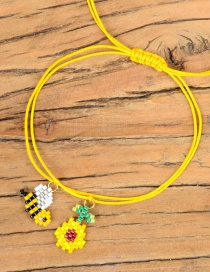 Fashion Yellow Rice Beads Woven Bee Flower Bracelet