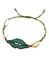 Fashion Green Shell Rice Beads Woven Lip Bracelet