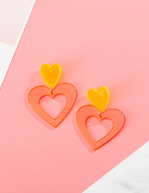 Fashion Transparent Orange Fluorescent Contrast Color Love Stitching Acrylic Earrings