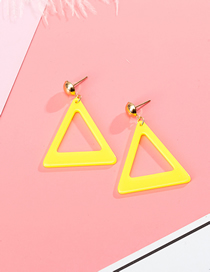 Fashion Yellow Geometric Contrast Triangle Hollow Acrylic Stud Earrings