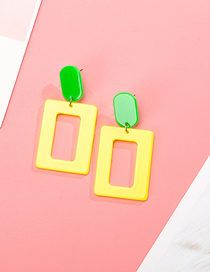 Fashion Yellow S925 Silver Needle Geometric Transparent Acrylic Stitching Earrings