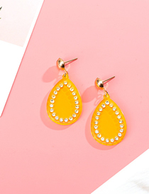 Fashion Yellow Acrylic Geometric Drop Diamond Stud Earrings