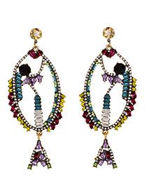 Fashion Color Alloy Diamond Fish Earrings