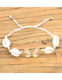 Fashion White Rice Beads Woven Butterfly Natural Shell Bracelet