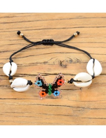 Fashion Black Rice Beads Woven Butterfly Natural Shell Bracelet