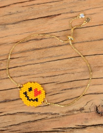 Fashion Yellow Rice Beads Weaving Qq Love Expression Bracelet