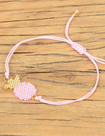 Fashion Pink Fruit Rice Beads Woven Pineapple Necklace