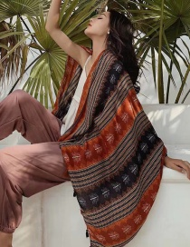 Fashion Orange Vertical Stripe Printed Tassel Scarf Shawl