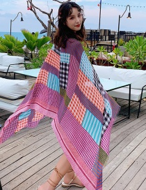 Fashion Color Small Plaid Colorblock Printed Scarf Shawl