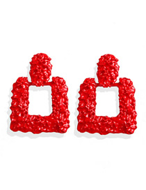 Fashion Red Alloy Square Earrings