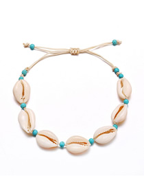 Fashion White Woven Turquoise Beaded Natural Shell Anklet