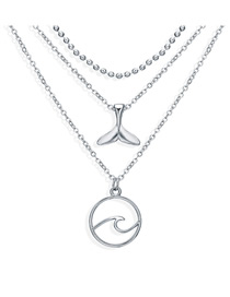 Fashion Silver Surf Fishtail Three-layer Necklace