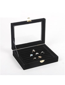 Fashion Black Strip Small Velvet Jewelry Box