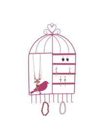Fashion Bird Cage Pink Earring Necklace Display Stand