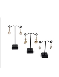 Fashion Small Black Earring Display Stand Metal Acrylic 1 pc