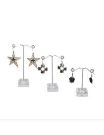 Fashion Small Transparent Earring Display Stand Metal Acrylic Three-piece