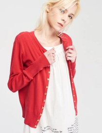 Fashion Red Round Neck Button Knit Cardigan