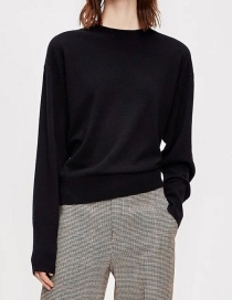 Fashion Black Two Button Sweaters On The Back