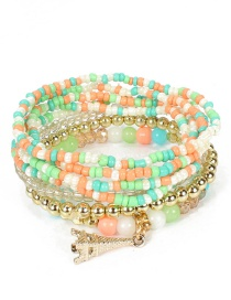 Fashion Color Mixing Metal Tower Rice Beads Multi-layer Bracelet