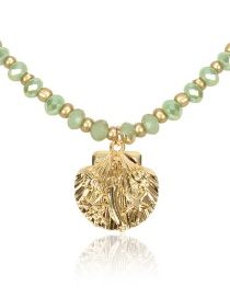 Fashion Green Glass Crystal Shell Necklace